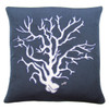 Luxury navy and cream Coral Cushion. Hand-embroidered seaside linen cushion.