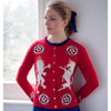 Jan Constantine Lion and Unicorn Cashmere Cardigan (Red)