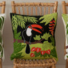 Black and orange tropical Toucan cushion, 46cm x 46cm