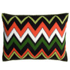 Tropical zig zag cushion, cream, orange, black, green, hand embroidered. Luxury home textiles