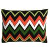 Tropical zig zag cushion, cream, orange, black, green, hand embroidered. Luxury home textiles