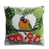 Tropical Cream Lovebirds cushion appliquéd and embroidered with green, orange, and yellow felt onto luxurious wool felt