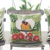 cream, green, yellow and orange Lovebirds cushion. 38cm x 38cm