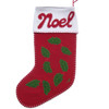 Hand Embroidered red wool felt stocking with green holly and red Noel text