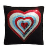 1970's inspired sequin love heart motif hand stitched onto black wool felt cushion.