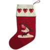 Red Robin Sequin wool Christmas Stocking with red sequin hearts on the cream wool felt cuff