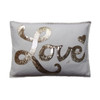 Cream and gold hand embroidered LOVE cushion