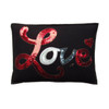 Sequin Love cushion, red, blue and oyster cream sequins with antique gold stitching on black wool felt
