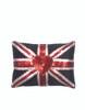 Jan Constantine Velvet Glam Rock Sequin Union Jack Cushion (Black)