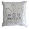 Diamante crown velvet cushion, cream, hand-embroidered