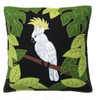 Luxury Cockatoo cushion, hand emboirdered and appliqued black wool felt pillow