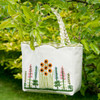 Cream hand embroidered bag, summer inspired embroidery