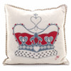 Crown cushion, cream, red and grey wool, hand-embroidered heirloom.