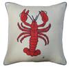 Lobster cushion, orange wool, cream linen, seaside collection