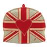 Union Jack, red heart designer tea cosy, blue linen