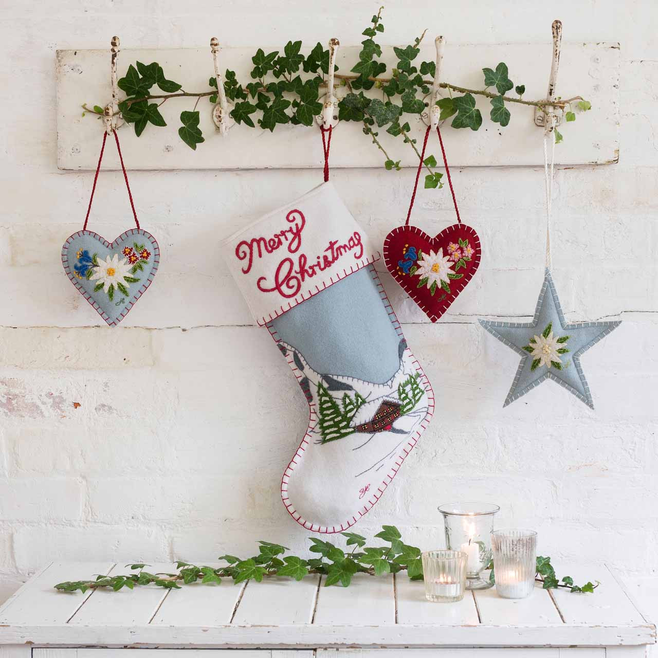 Hand Embroidered Christmas Star Decoration Jan Constantine