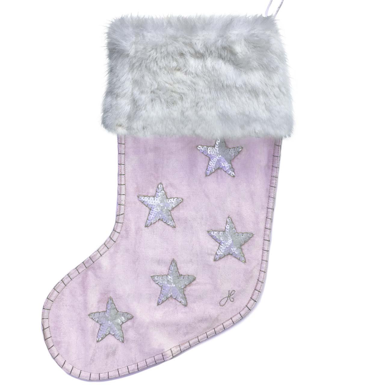 Pink Christmas Stocking.Velvet Sequin Star Christmas Stocking Pink