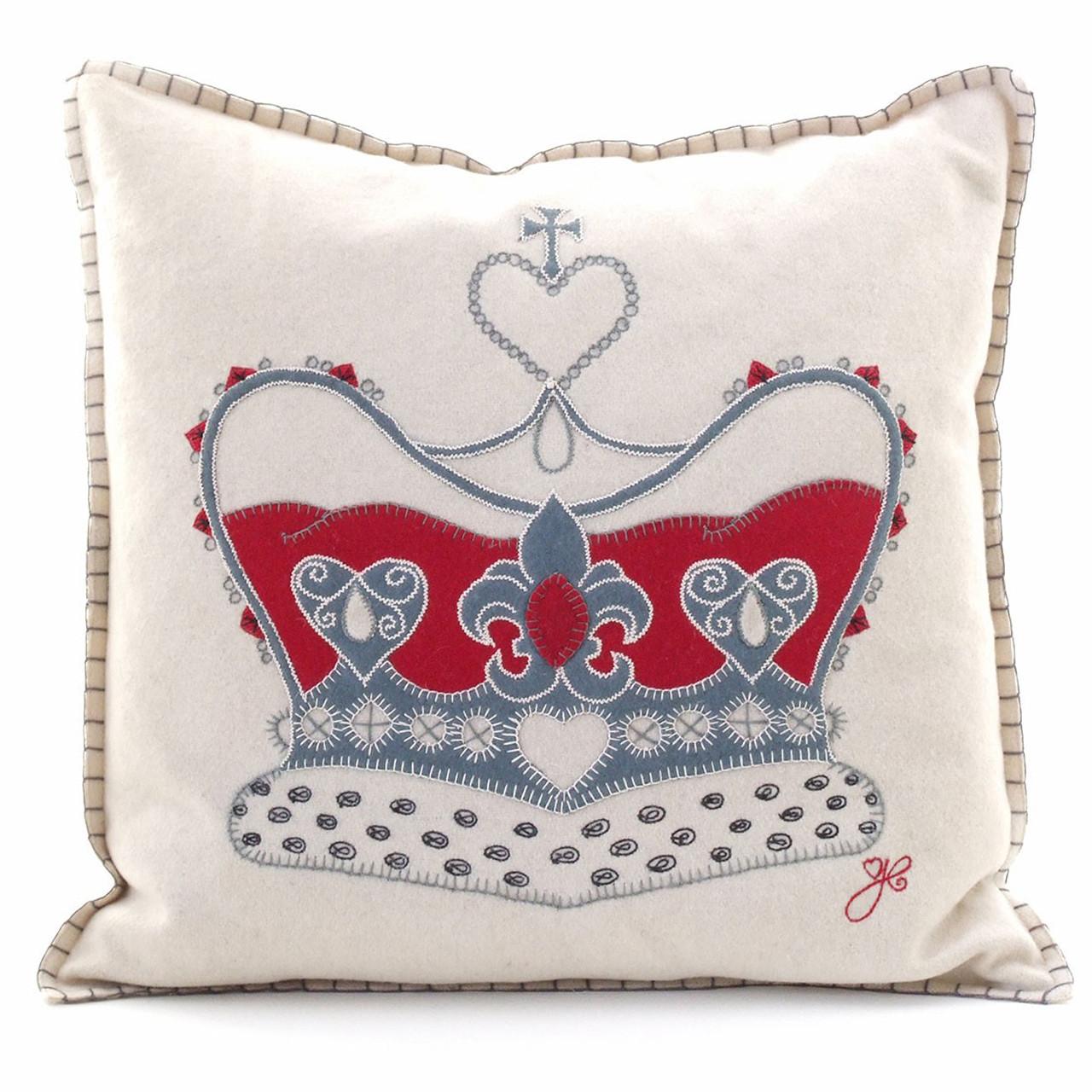Hand Embroidered Designer Crown Cushion Jan Constantine