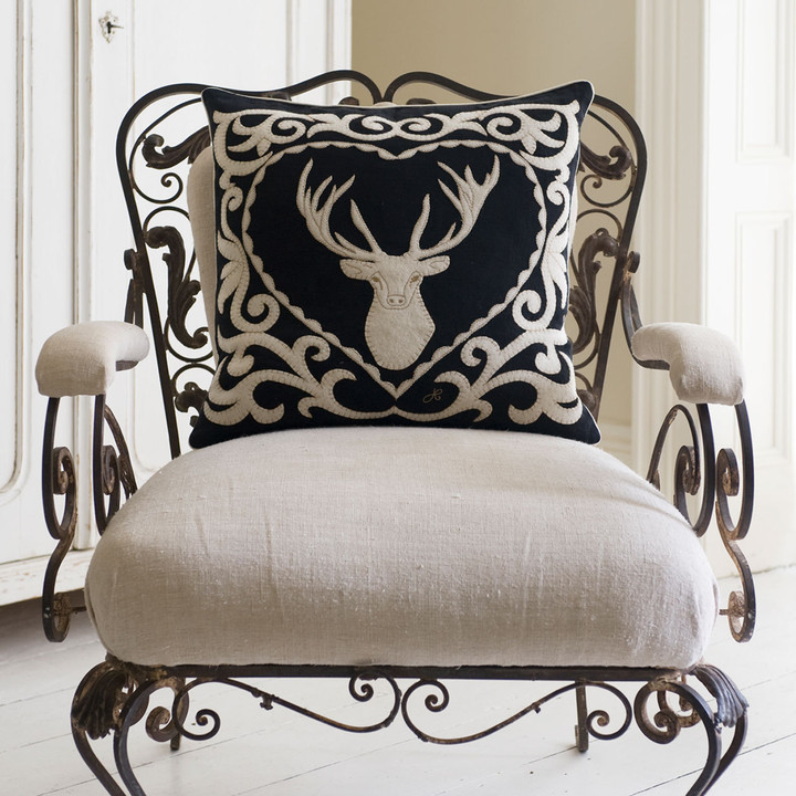 Stag cushion, Black Magic collection, black linen, cream wool