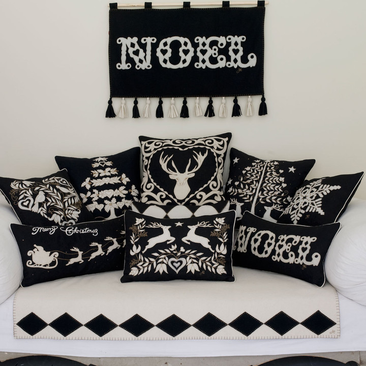 Black Magic Christmas collection, cushions and Noel wall-hanging