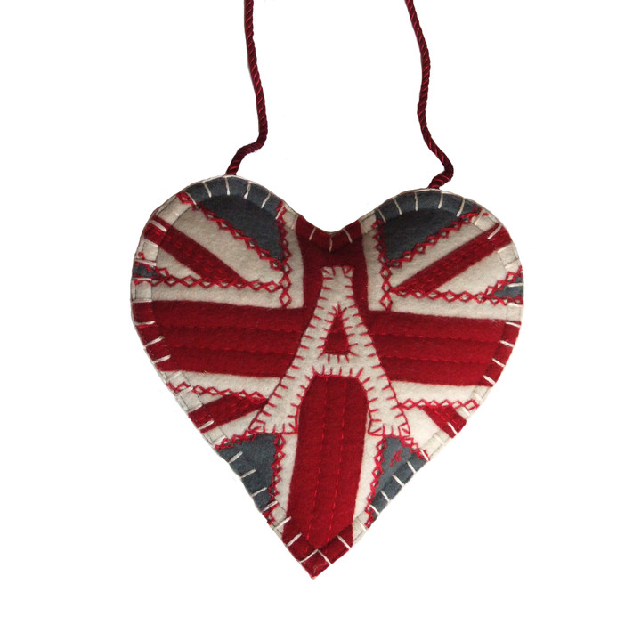 Monogram Union Jack lavender heart, hand-embroidered