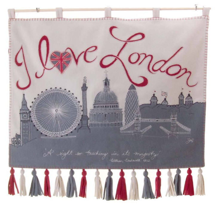 I Love London Wall Hanging, cream, grey and red