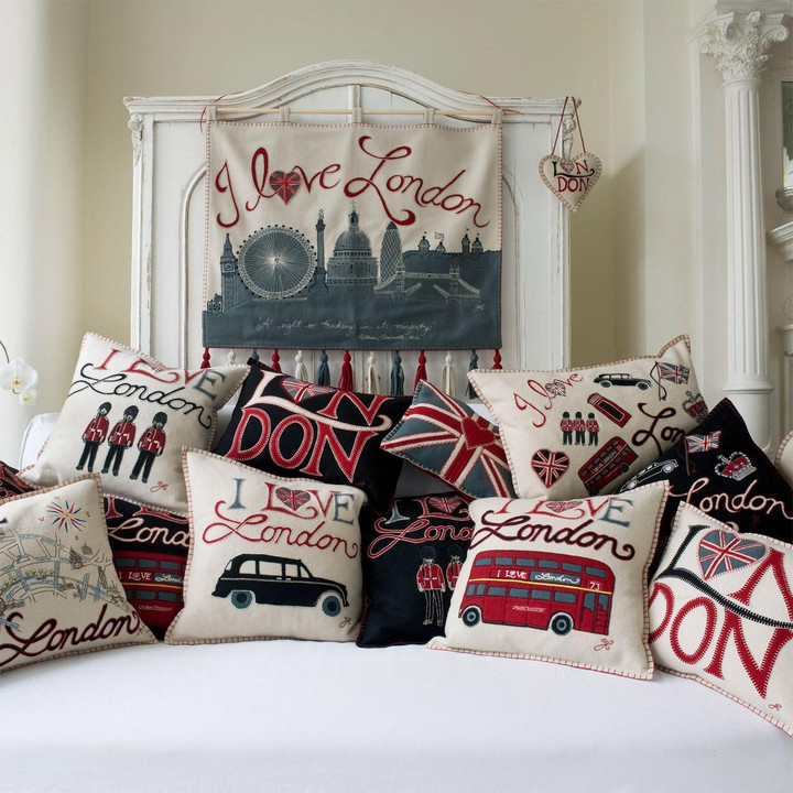 I Love London collection, wall hanging, lavender heart and cushions