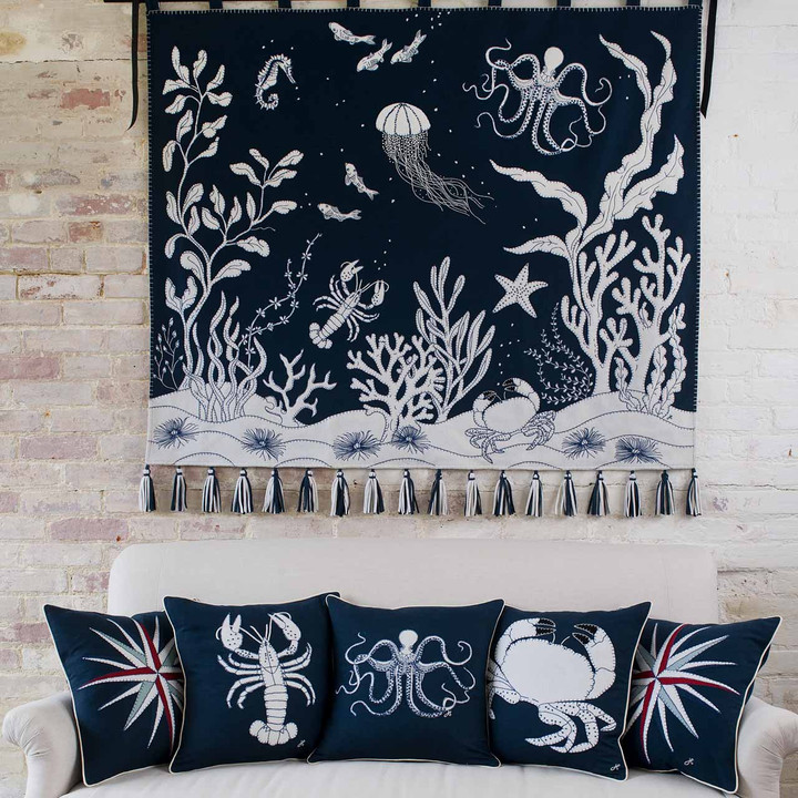 Marine theme luxurious navy will felt cushion with hand stitched cream appliqué crab motif.