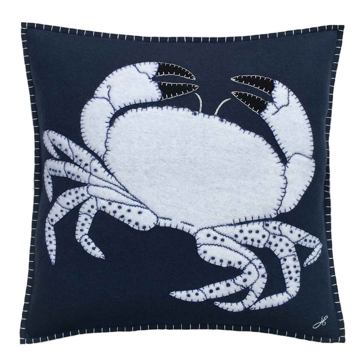 Made from navy blue wool felt and appliquéd with a magnificent cream crab with black claws, this beautiful design is  hand-embroidered with blanket stitch, chain stitch and is finished with French knots.