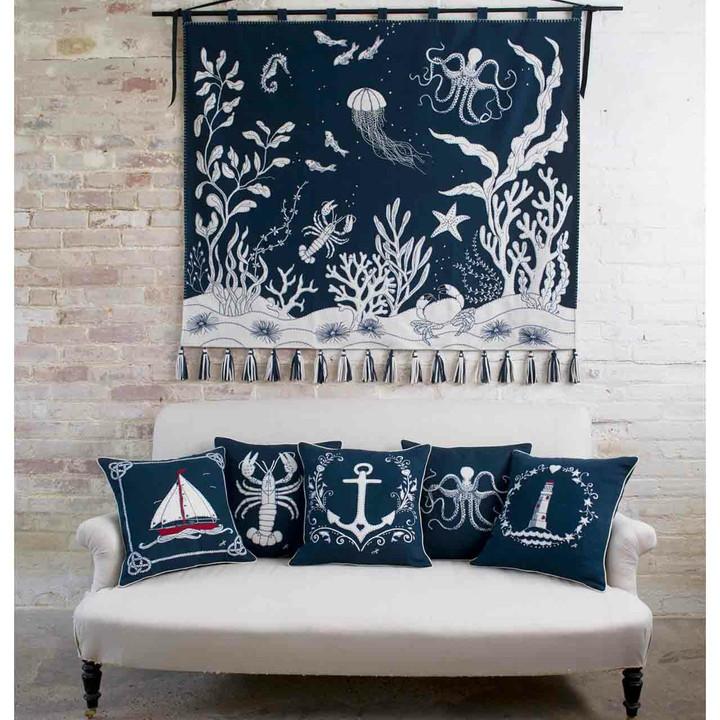 Starfish Cushion (Navy)
