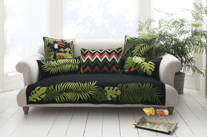 Black and green luxury leaf design cushion, appliqu and hand embroidered motif