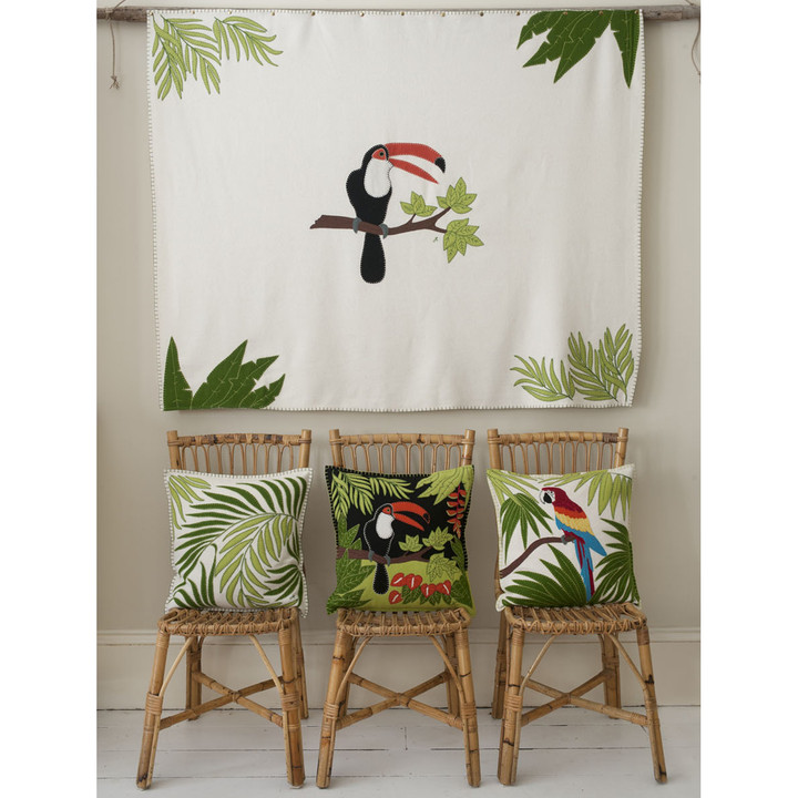 Designer Tropical birds and palm cushions and throw
