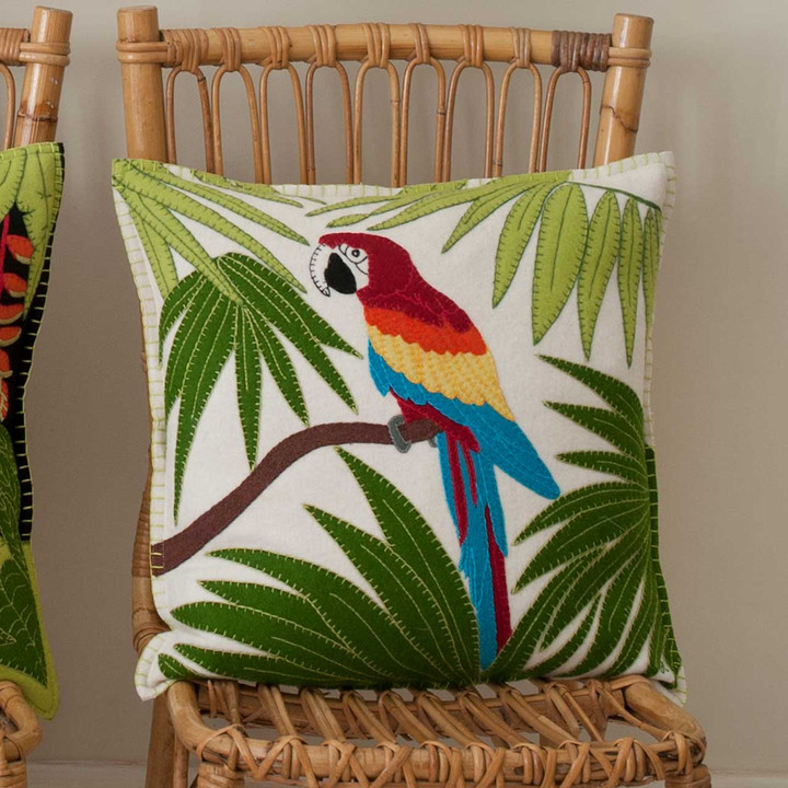 Tropical Parrot cushion, cream,  46cm x 46cm.