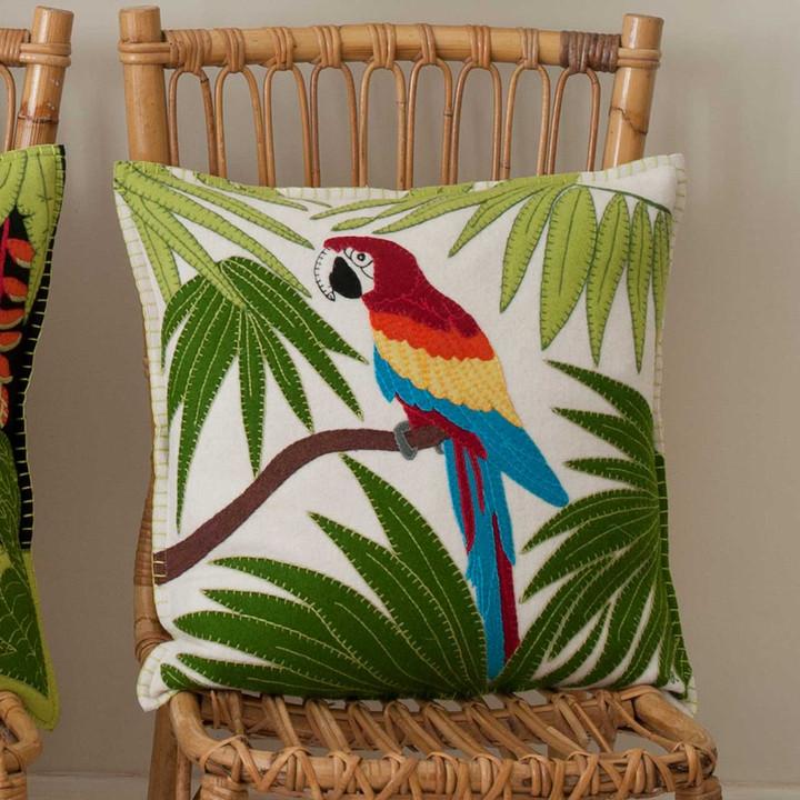 Tropical Parrot cushion, cream,  46cm x 46cm.