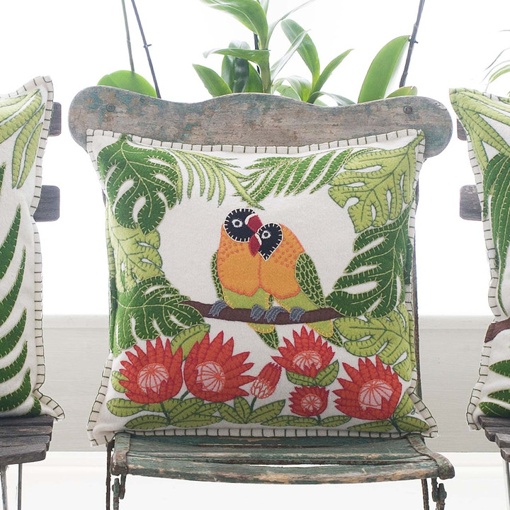cream, green, yellow and orange Lovebirds cushion. 38cm x 38cm