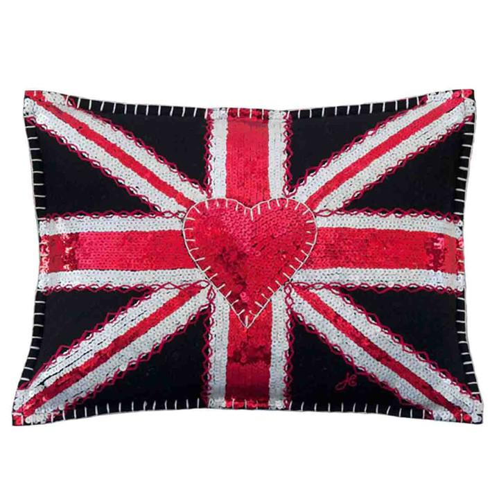 Glam Rock Sequin Union Jack Cushion (Black)