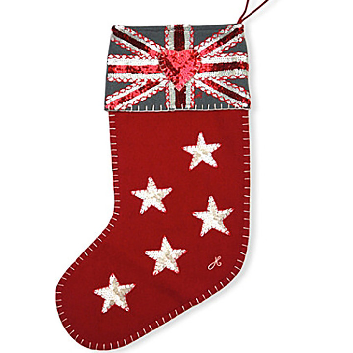 Jan Constantine Sequin 5 Star Union Jack Christmas Stocking (Red)