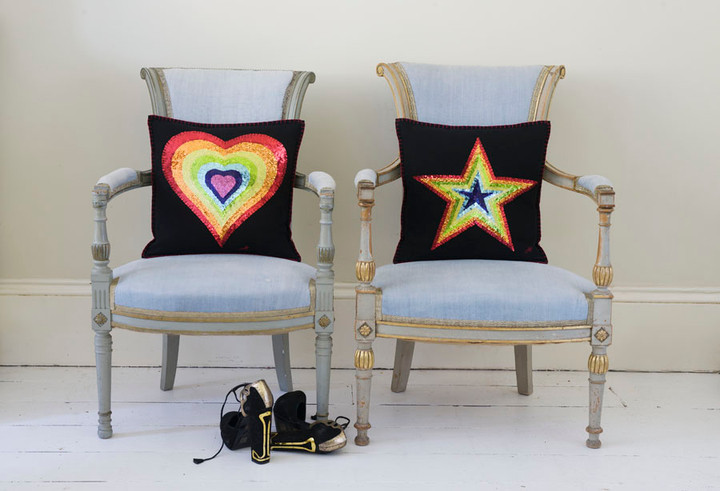 1970's Glam Rock cushion in black felt with six hand stitched rainbow coloured sequin stars.