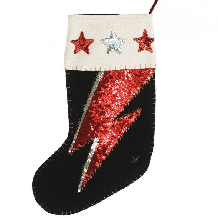 Jan Constantine Sequin 'Ziggy' Christmas Stocking (Black)