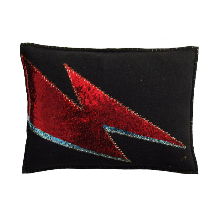 Sequin Glam Rock Ziggy Lightning Bolt cushion. Red and blue sequins with antique gold thread.