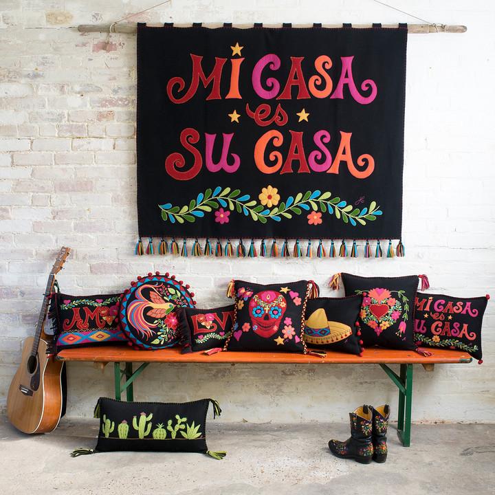 Fiesta Mi Casa es Su Casa Cushion (Black)
