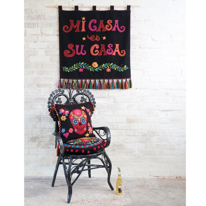 Fiesta Mexican Skull Cushion (Black)