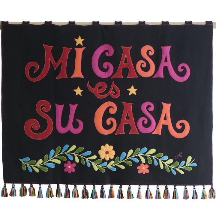 Jan Constantine Fiesta Mi Casa es Su Casa Wall Hanging  (Black)
