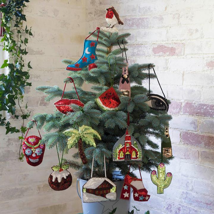 Jan Constantine Alpine Sequin Robin Christmas Decoration