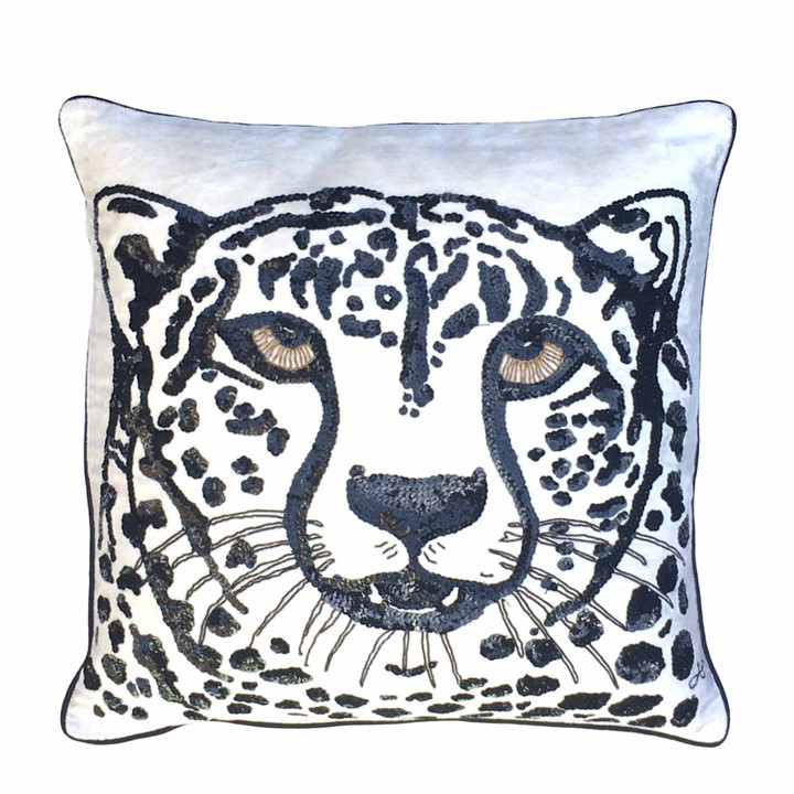 Jan Constantine  Sequin Velvet Cheetah Cushion (Cream)