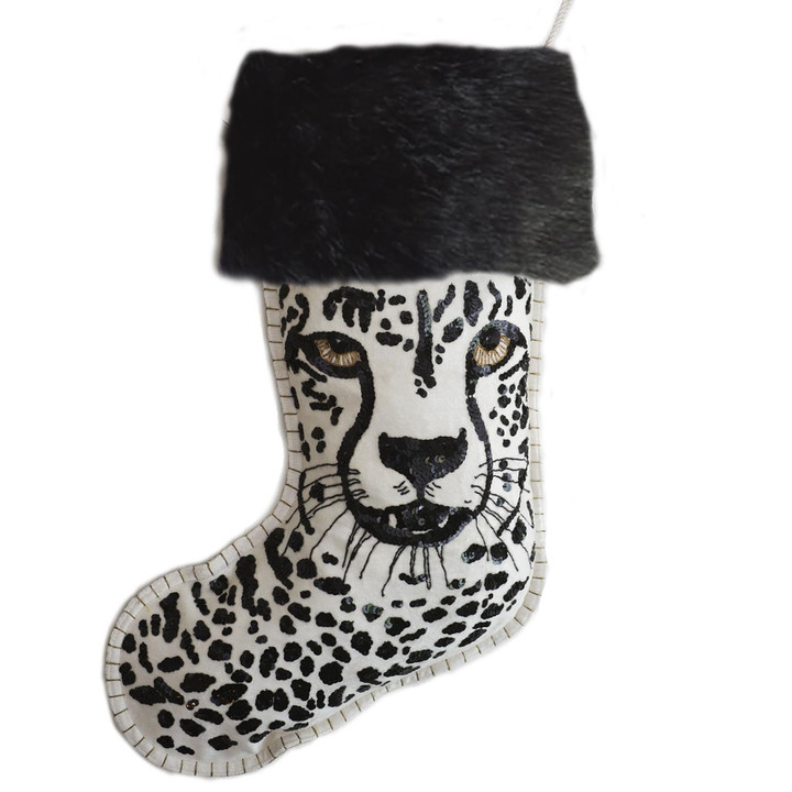 Jan Constantine Cheetah Sequin Christmas Stocking (Cream)