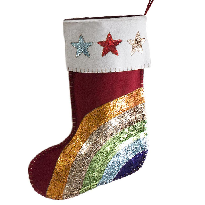 Rainbow Sequin Christmas Stocking (Red)