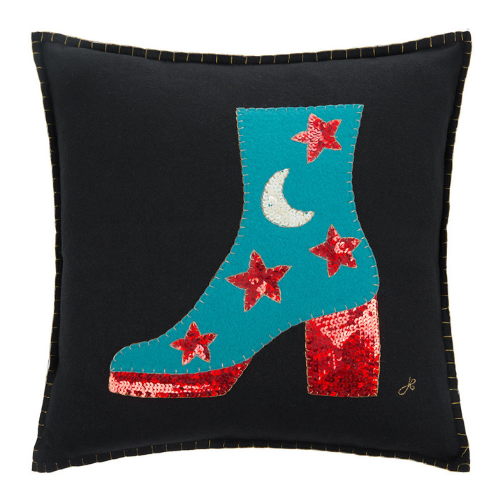 Jan Constantine Glam Rock Sequin Boot Cushion (Black)