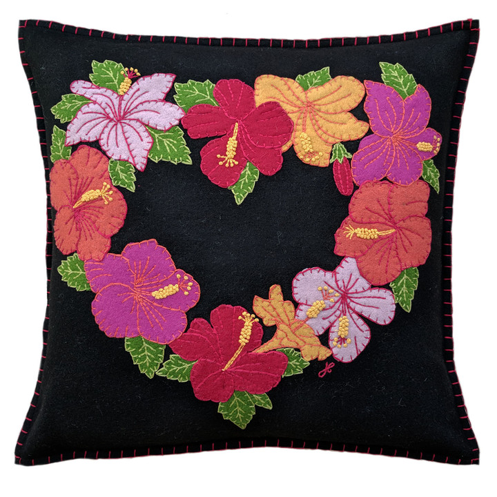 Jan Constantine Tropical Hibiscus Cushion (Black)