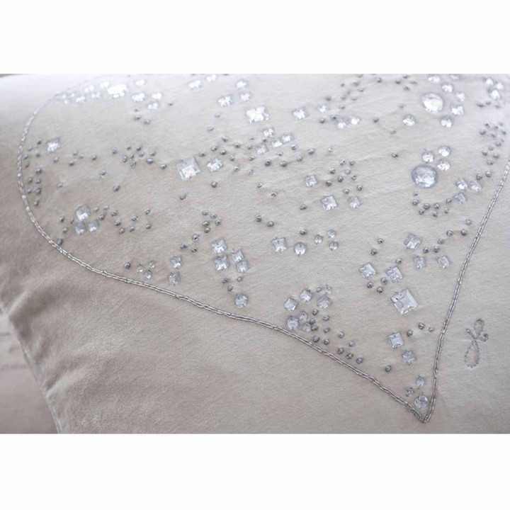 Diamanté and silver embroidered heart on sumptuous cream velvet cushion.